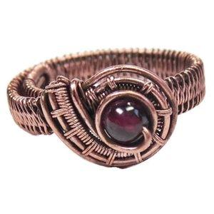 Garnet & Copper Adjustable Ring